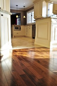 Hardwood flooring leading into the kitchen